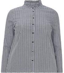 smårutig skjorta med liten ståkrage och lång ärm