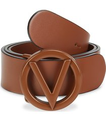 valentino by mario valentino women's giusy logo leather belt - caramel - size s