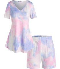 plus size tie dye v neck lounge shorts set