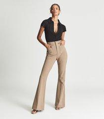 reiss lulu - open neck polo bodysuit in black, womens, size xl
