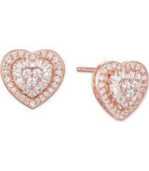 diamond baguette heart stud earrings (1/2 ct. t.w.) in 14k gold, 14k white gold or 14k rose gold
