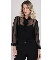blusa de tule feminina poá com sobreposição manga bufante gola laço preta