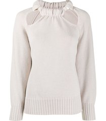 jil sander cut-out necklace detail jumper - neutrals