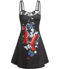 butterfly print lace insert mini cami dress