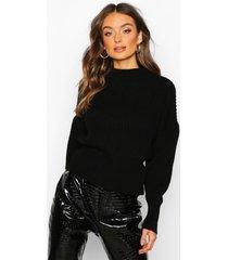 balloon sleeve knitted sweater, black