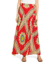 women's band of gypsies foulard print wrap skirt