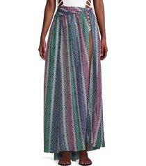 caroline constas women's hera cotton & silk-blend skirt coverup - size l
