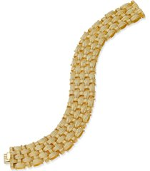 italian gold woven link bracelet in 14k gold-plated sterling silver