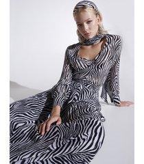 motivi gonna lunga zebrata misto seta donna bianco