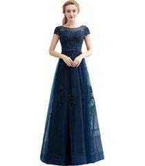 kivary long simple beaded lace appliques corset prom evening dresses dark navy u