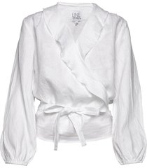 evelyn linen solid blouse lange mouwen wit line of oslo