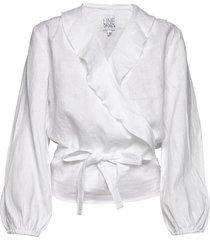 evelyn linen solid blouse lange mouwen wit line of oslo