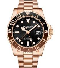 stuhrling men's rose gold stainless steel bracelet watch 42mm