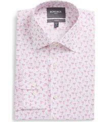 men's bonobos slim fit stretch flamingo print dress shirt