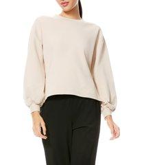 women's alice + olivia amirah drawstring sweatshirt, size x-large - beige