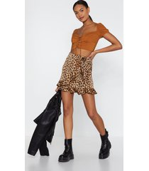 womens leopard ruffle wrap mini skirt - tan