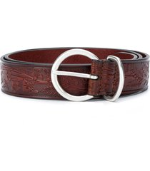 anderson's floral textured belt - brown