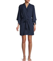 triangle-print kimono-sleeve robe cover-up