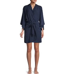 triangle-print kimono-sleeve robe cover-up