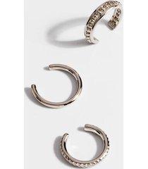 lexie textured ear cuff set - silver