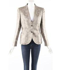 alexander mcqueen gray beige linen blazer jacket beige/gray sz: s