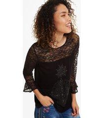 black lace t-shirt - black - xxl