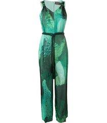 max mara flared jumpsuit - green