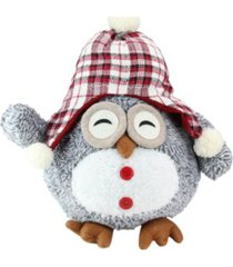 "northlight 12"" gray owl with plaid bennie cap plush table top christmas figure"
