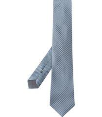 giorgio armani embossed stripe tie - blue
