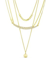 kensie rhinestone curved bar, ball and beaded layered necklace
