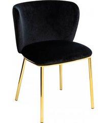krzesło metalowe welurowe jessy czarne