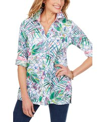 foxcroft tropical wrinkle-free cotton sateen shirt, size 2p in multi at nordstrom