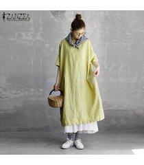 zanzea las mujeres más del batwing larga camisa de vestir vestido a media pierna de cuello redondo casual vestido de tirantes plus -amarillo