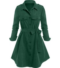 plus size epaulet single breasted belted tunic coat