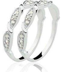 anel aparador de prata 925 com 24 pedras de zircônia natália joias forever