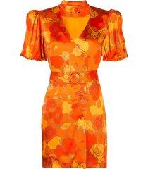 de la vali floral-print belted-neck satin mini dress - orange