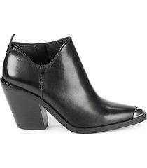 seiji western stack-heel leather booties