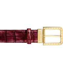 pakerson designer men's belts, ripa wine red alligator leather belt w/ gold buckle
