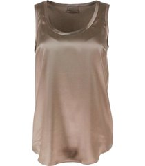 brunello cucinelli sleeveless round neck top in stretch silk