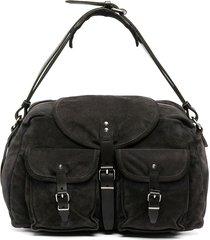 balenciaga pre-owned 2004 cargo pockets flap shoulder bag - black