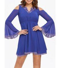 flared sleeve mini swing dress