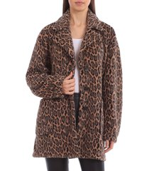 avec les filles animal print fleece coat, size xx-large in leopard at nordstrom