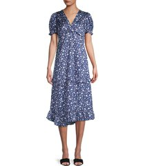 dh new york women's twist-front floral midi dress - pacific blue - size s