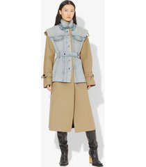 proenza schouler belted trench with denim vest coat taupe/cobalt stone wash/grey 2