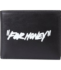 off-white printed leather wallet