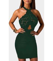 halter mini con encaje transparente verde con encaje vestido