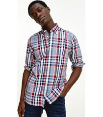 tommy hilfiger men's regular fit organic cotton check shirt red / navy / multi - m