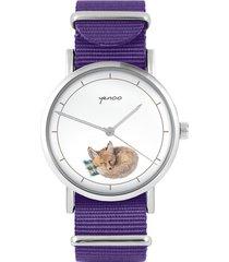 zegarek - lisek - fiolet, nylonowy