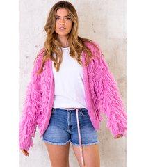 oversized knitted fringe vest candy pink