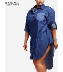 zanzea mujeres dril de algodón de la vendimia vestido de la solapa de manga larga dobladillo irregular de tapas largas camisas de gran tamaño tamaño vestidos plus -azul
